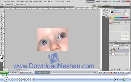 آموزش ویدیویی از بین بردن قرمزی چشم در عکس با فتوشاپ - دانلودنشان دات کام